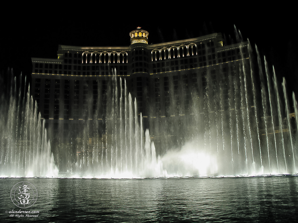 Bellagio Casino at nightduring its famous fountain performance.