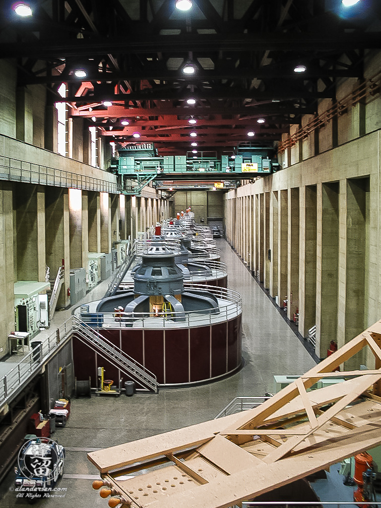Tops of six hydro-electric generators at Boulder Dam.
