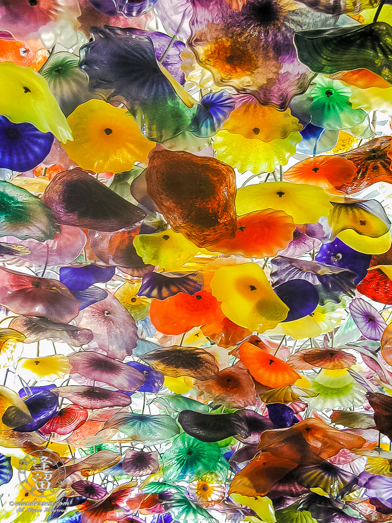 Dale Chihuly glass ceiling sculpture in Bellagio Casino lobby.