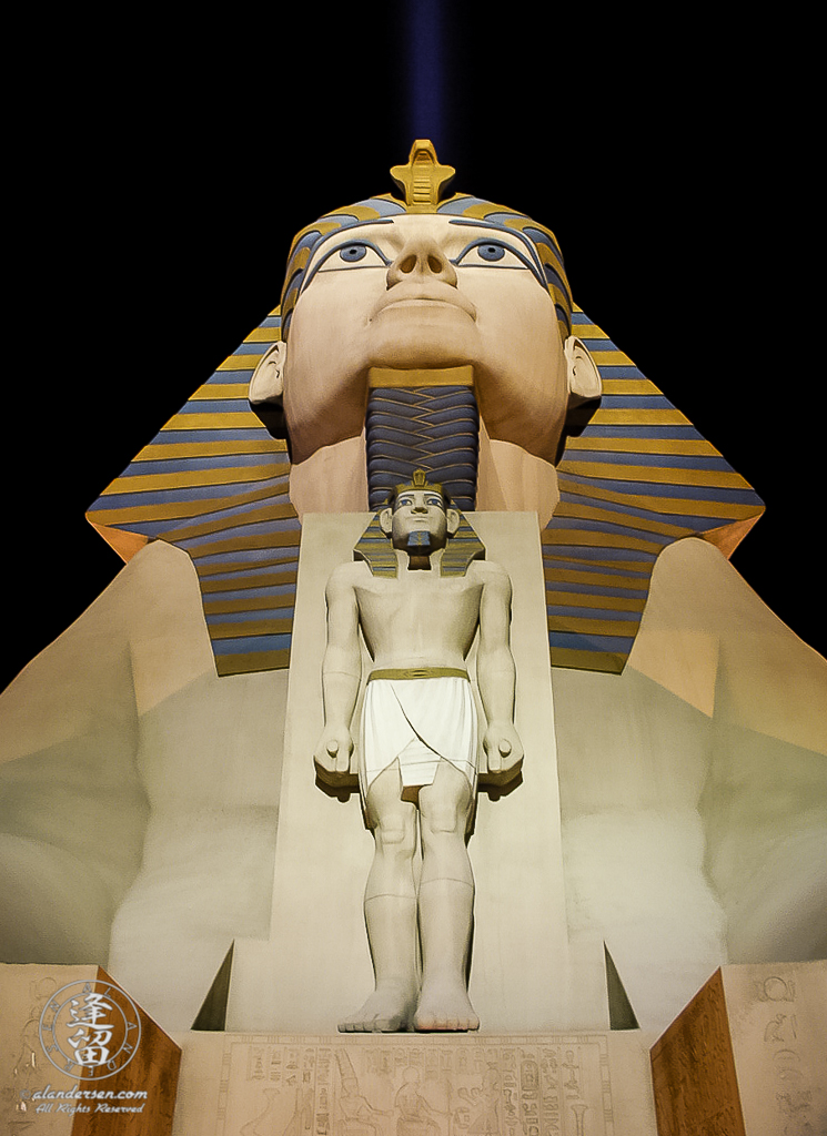 Luxor Casino sphinx statue brightly lit at night.