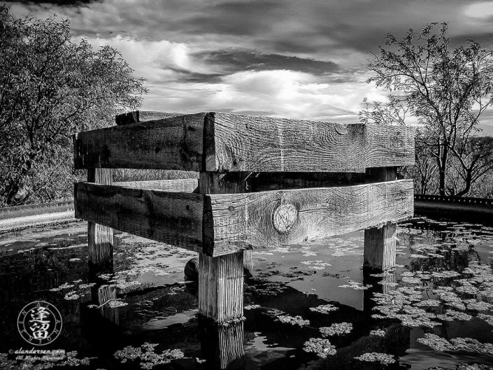 Raised wooden platform in center of filled steel water tank.