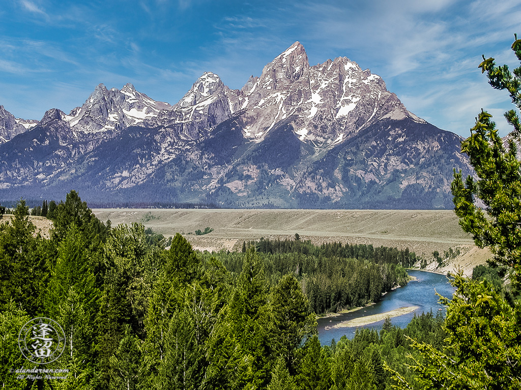 Iconic view of Grand Tetons from the Snake River Overlook in Grand Teton National Park.