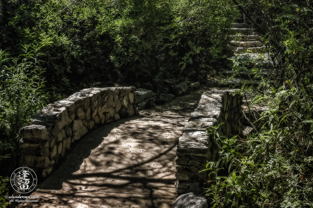 Stone bridge and stairs on a walking trail at Loews Ventana Canyon Resort in Tucson, Arizona.