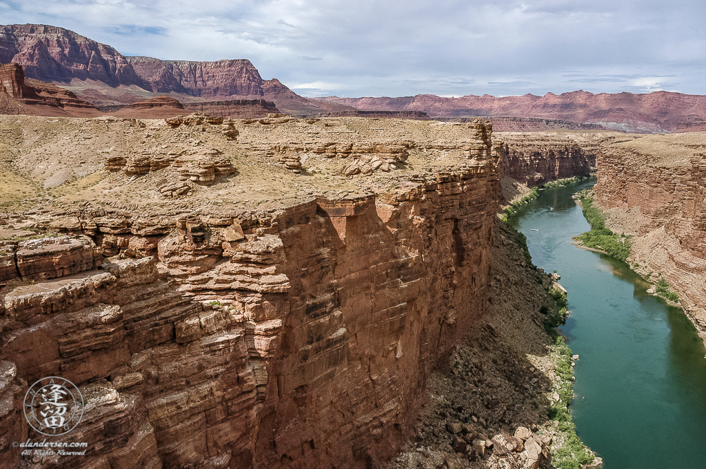Colorado River seen from Navajo Bridge at Marble Canyon in Arizona.