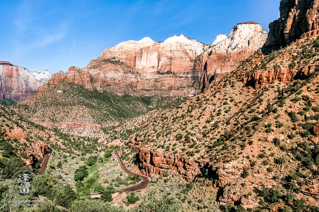 Initial view of Zion National Park upon exiting Zion-Mt Carmel tunnel.