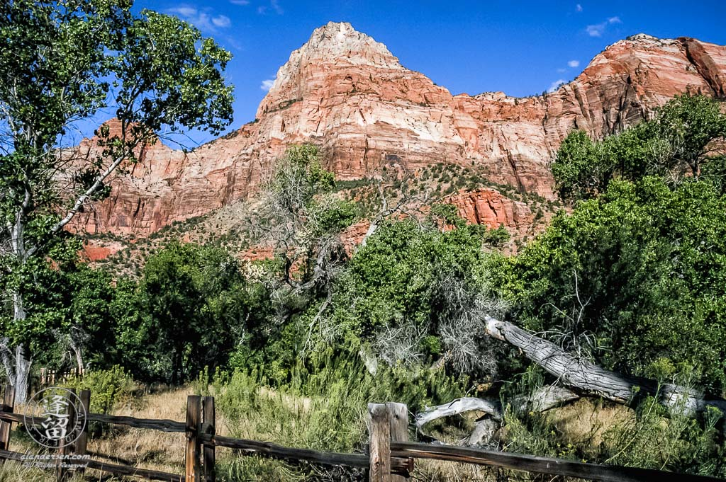 Scenic view of mountains bordering Parus Trail in Zion National Park.