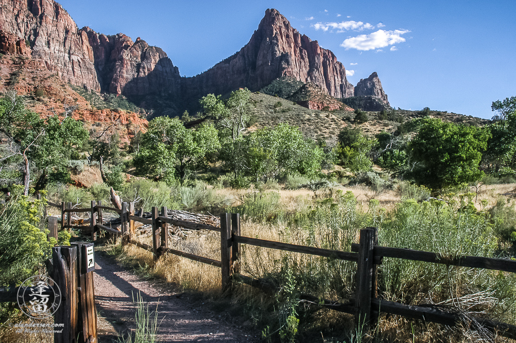 Fence-lined trail head below the Watchman in Zion National Park.