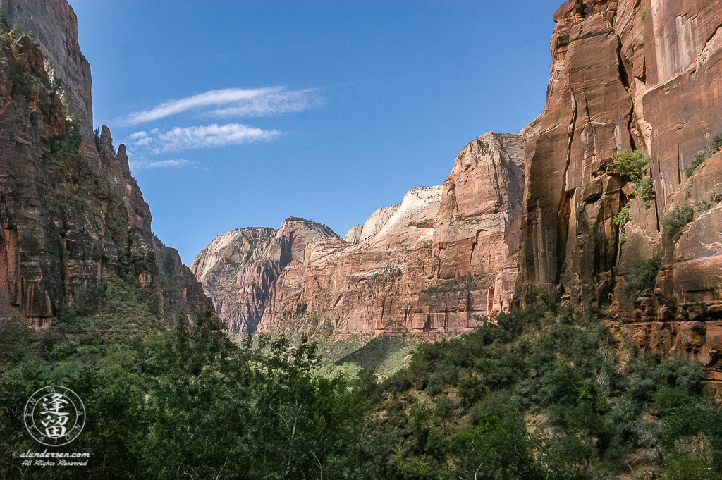 Spectacular view of Zion Canyon as seen from Weeping Rock.