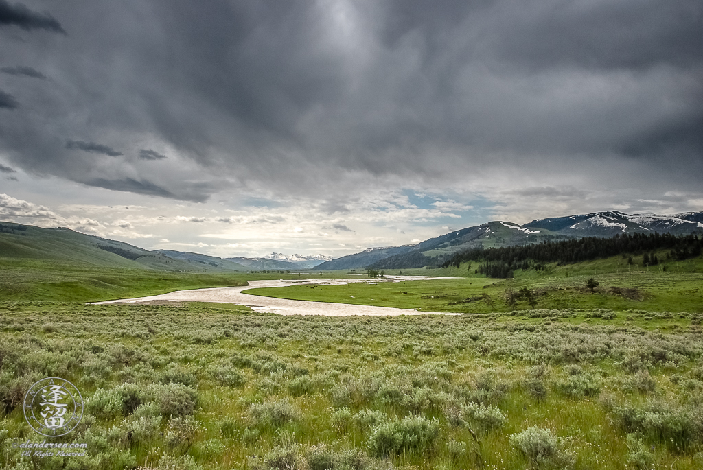 Cloudy morning over Lamar Valley in Yellowstone National Park.
