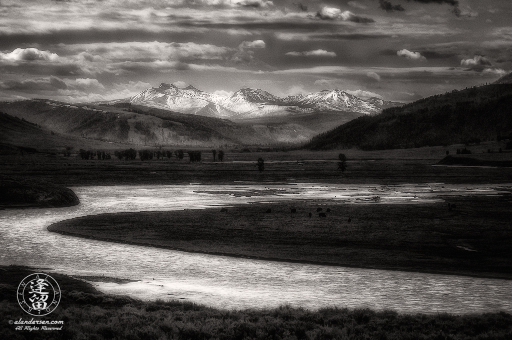 Cloudy morning over the Lamar Valley in Yellowstone National Park.