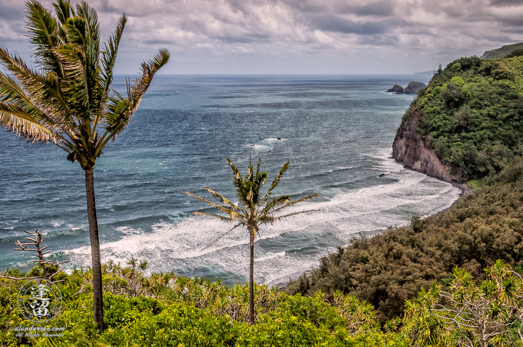 The view from the Pololu Valley Lookout at the end of the Akoni Pule Highway near Kapaau on the Big Island of Hawaii.