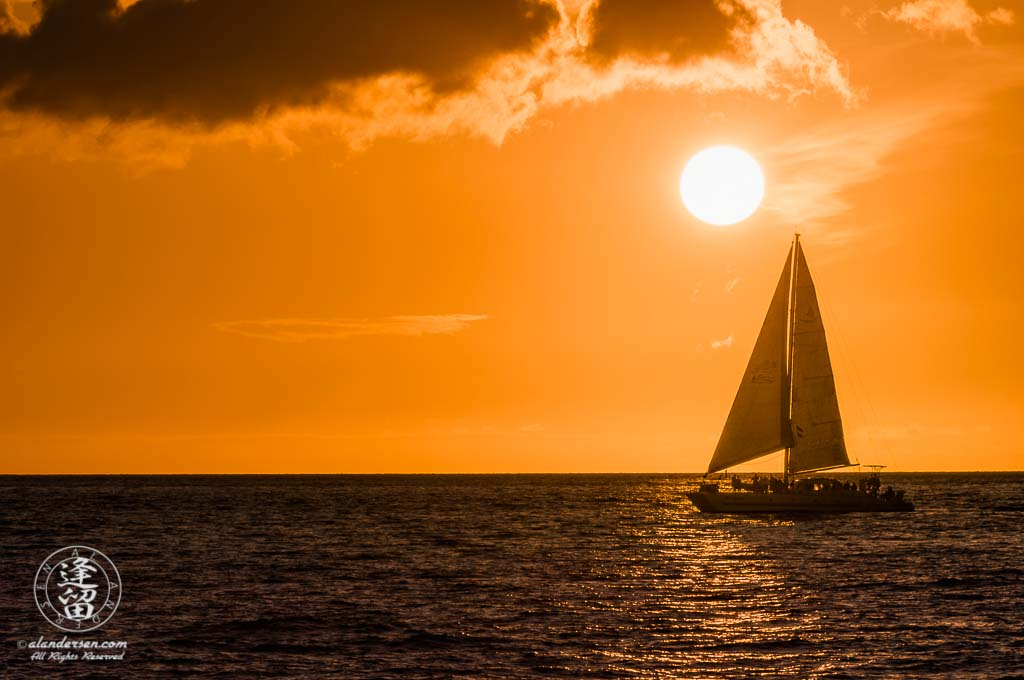 A vacation image showing a catamaran sailing out on the ocean beneath a striking copper-colored sunset.