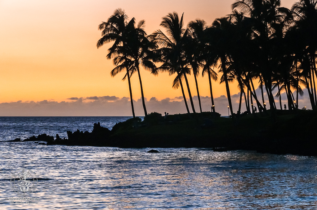 A sunset image of Buddha Point on the Big Island of Hawaii in silhouette.