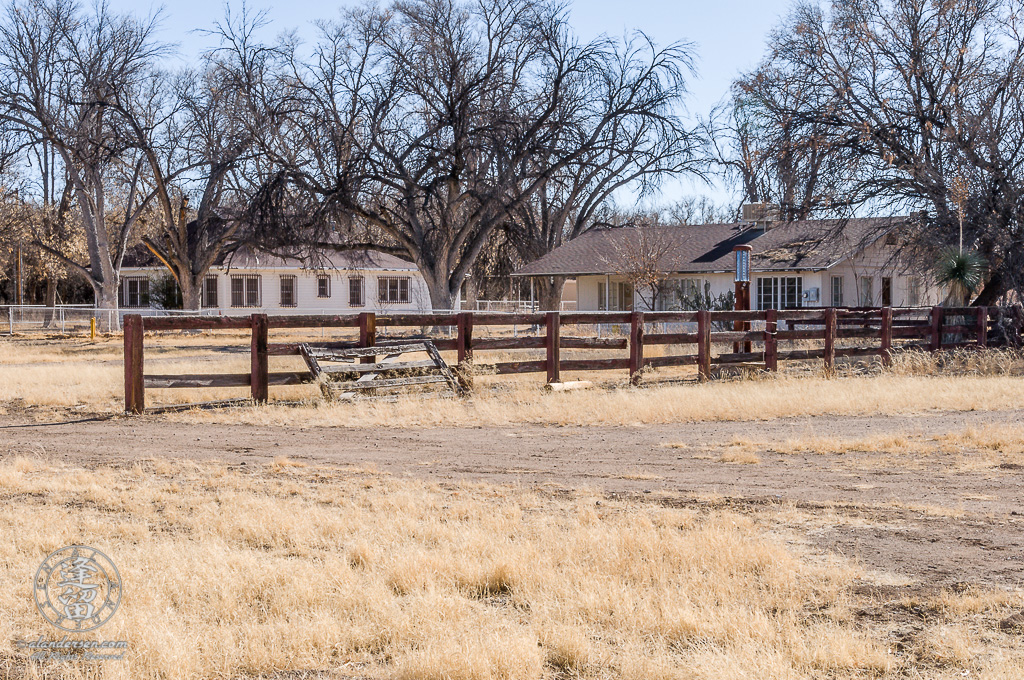 The Main House (left) and the Foreman's House (right) at the Lil Boquillas Ranch property situated in the San Pedro Riparian National Conservation Area near Fairbank, Arizona.