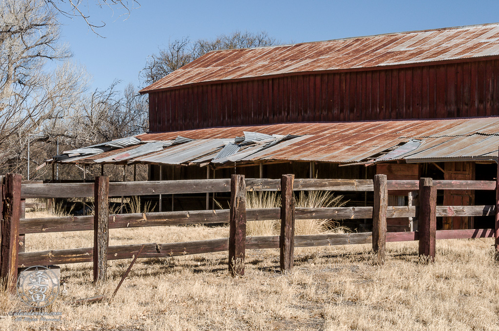 Corral and feeding station on West side of the Barn at the Lil Boquillas Ranch property near Fairbank, Arizona.