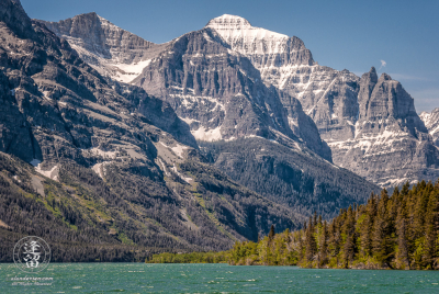 Mount Mahtotopa and Mount Little Chief rise over St. Mary's Lake.