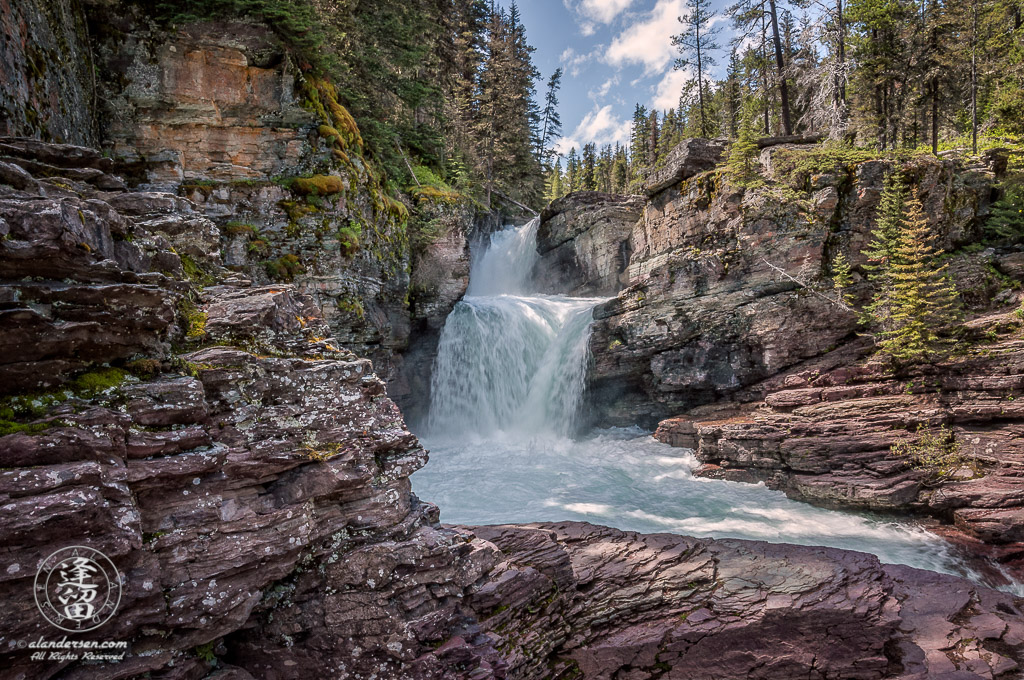 The roaring clear turquoise waters of St. Mary's Falls is just an easy 20 minute walk from Going To The Sun Road in Glacier National Park.