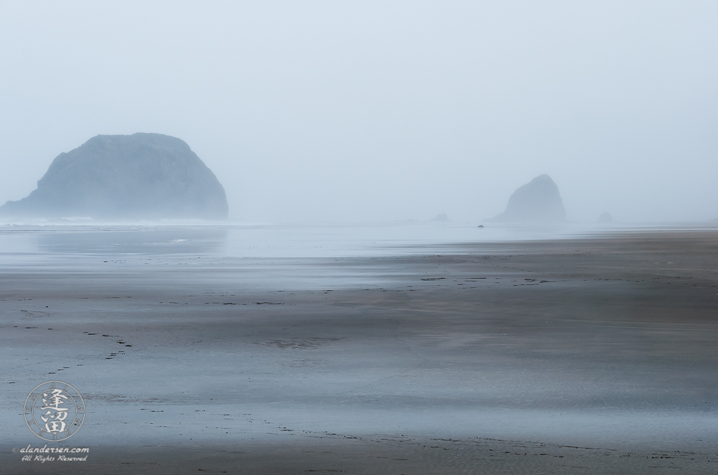 A very wet morning at Tolovana Beach State Recreation Site in Oregon with Haystack Rock poking up out of the mists on the distant horizon.