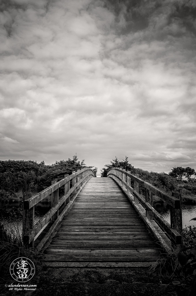 The wooden bridge that provides beach access in Oregon's Ona Beach State Park at Newport.