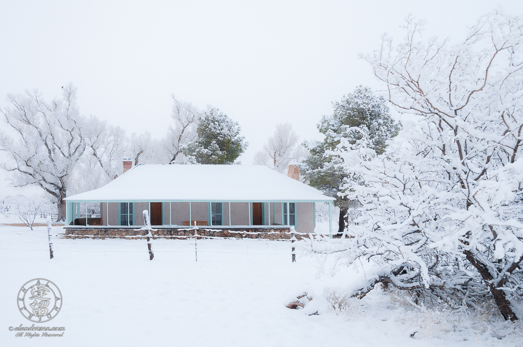 Brown Canyon Ranch house covered in fresh snow.