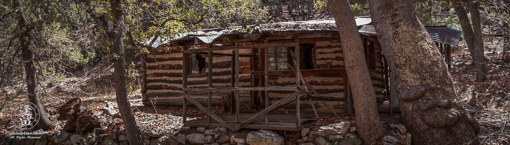 A deserted old log cabin that sits next to the creek in Ramsey Canyon, a popular tourist destination just outside of Sierra Vista in the Huachuca Mountains of Southeastern Arizona.