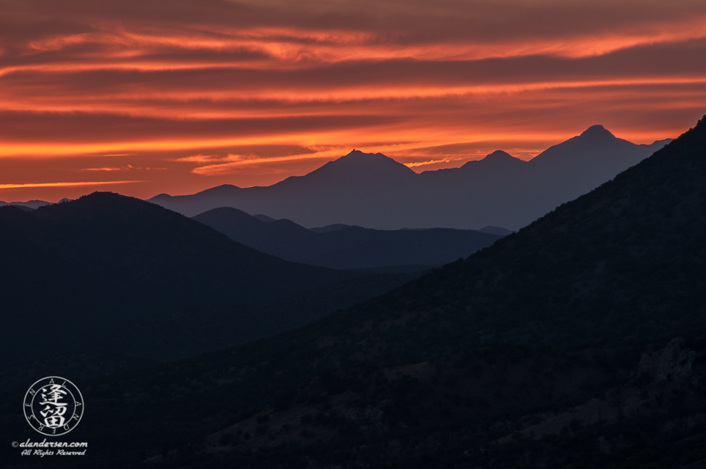 Fiery sunset over the Santa Rita Mountains in Arizona.