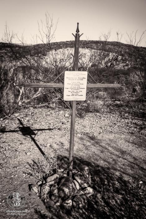 Commemorative grave marker at Real Presidio de Santa Cruz de Terrenate near the ghost town of Fairbank on the banks of the San Pedro River in Southeastern Arizona.