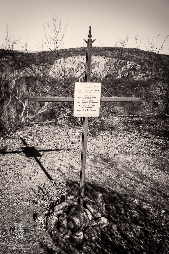 Commemorative grave marker at Real Presidio de Santa Cruz de Terrenate near the ghost town of Fairbank on the banks of the San Pedro River in Southeastern Arizona.