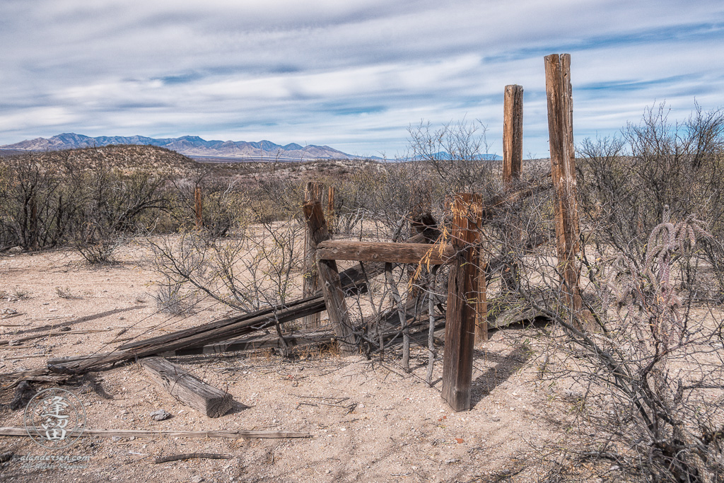 Remains of old wooden cattle loading chute out in the desert.