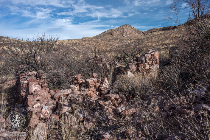 The rock walls of a ruined miners hut at Leslie Canyon National Wildlife Refuge near the town of McNeal in Southeastern Arizona.