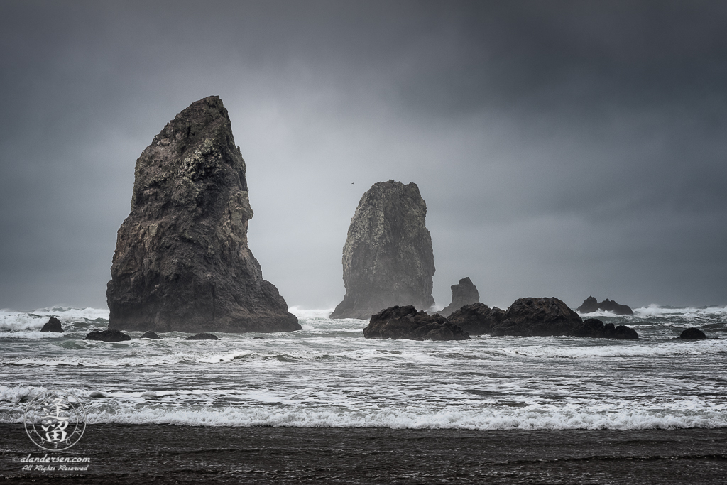 The Needles, at Cannon Beach in Oregon, on a cloudy and stormy day.