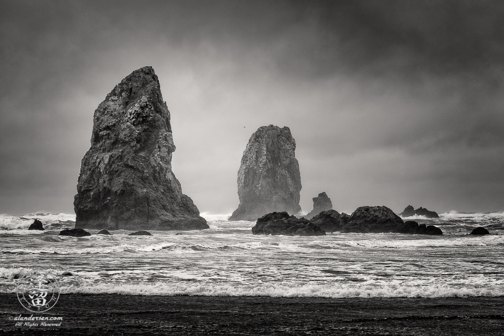 The Needles on cloudy stormy day at Cannon Beach in Oregon.