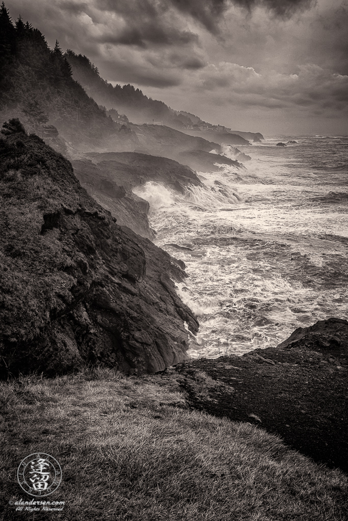 A stormy day at Rocky Creek State Park outside of Depoe Bay, Oregon.