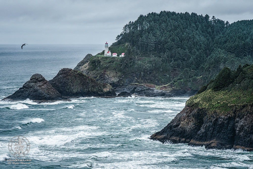 Hecata Head Lighthouse nestled snuggly against hllside above cliffs overlooking Cape Cove.