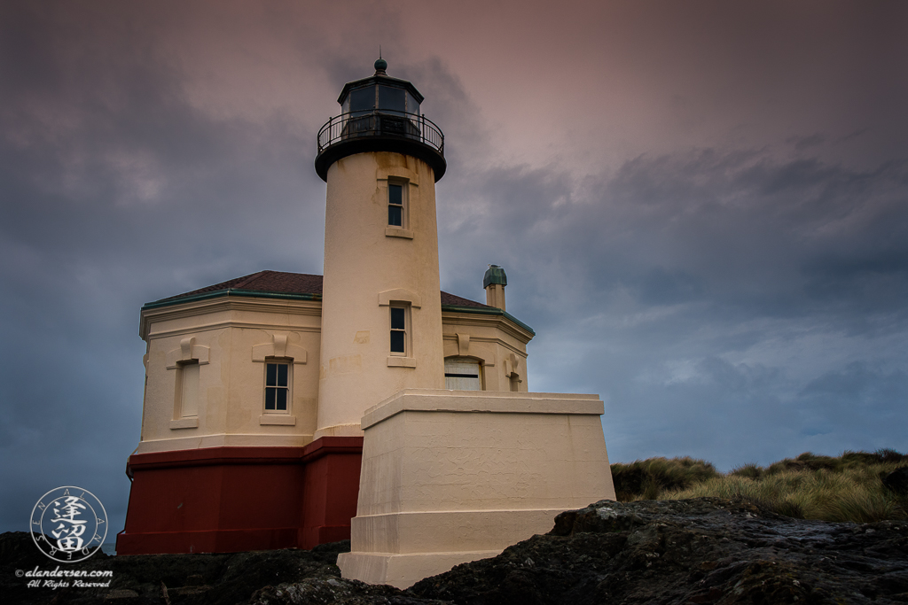 The Coquille River Lighthouse at the mouth of the Coquille River in Bandon, Oregon.