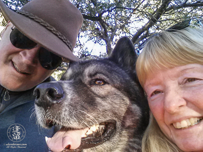 A selfie of Hachi and us after one of his last hikes.