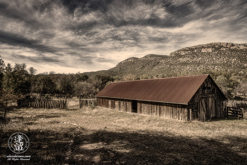Toned image of barn at Camp Rucker near Douglas, Arizona.