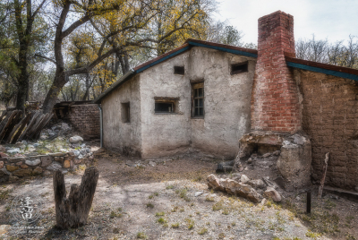 Ruins of ranch house at Camp Rucker in Arizona, showing living quarters and office area.