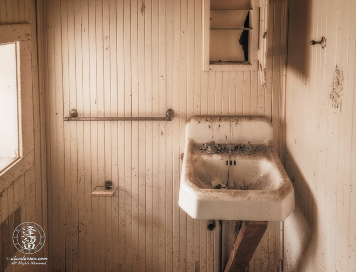 Small bathroom off the front room of ranch house at Camp Rucker in Arizona.