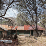 Panoramic rear view old ranch house ruins at Camp Rucker in Arizona.