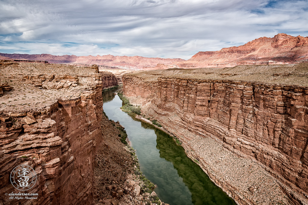 Looking upstream at Colorado River from Navajo Bridge at Marble Canyon, Arizona.