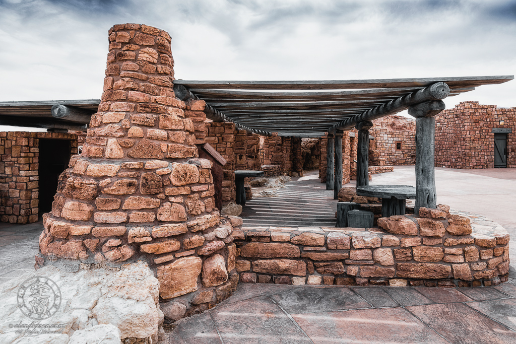 Tables and outdoor Kiva stove at Navajo Bridge Interpretive Center in Marble Canyon, Arizona.