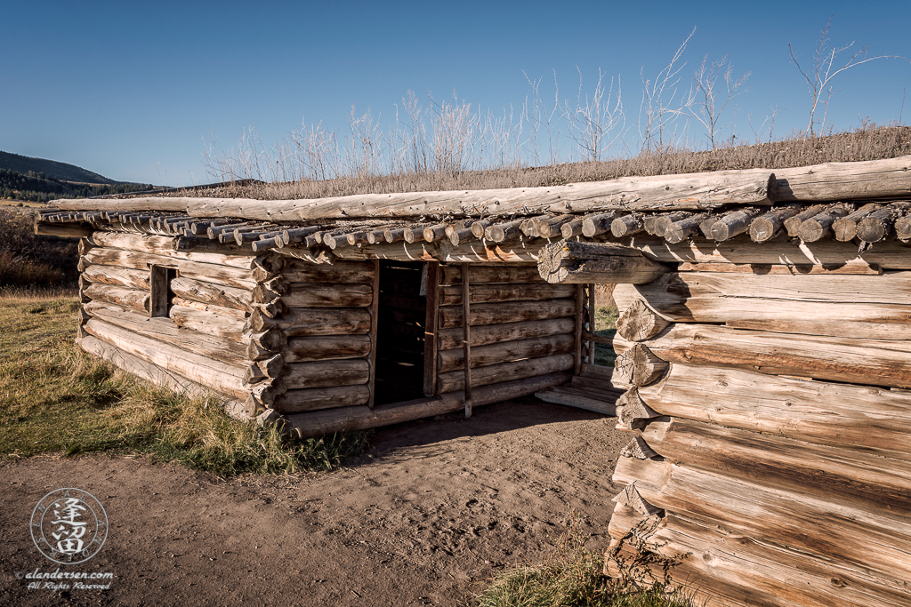 Close-up view of historical J. Pierce Cunningham Cabin in Grand Teton National Park, Wyoming.