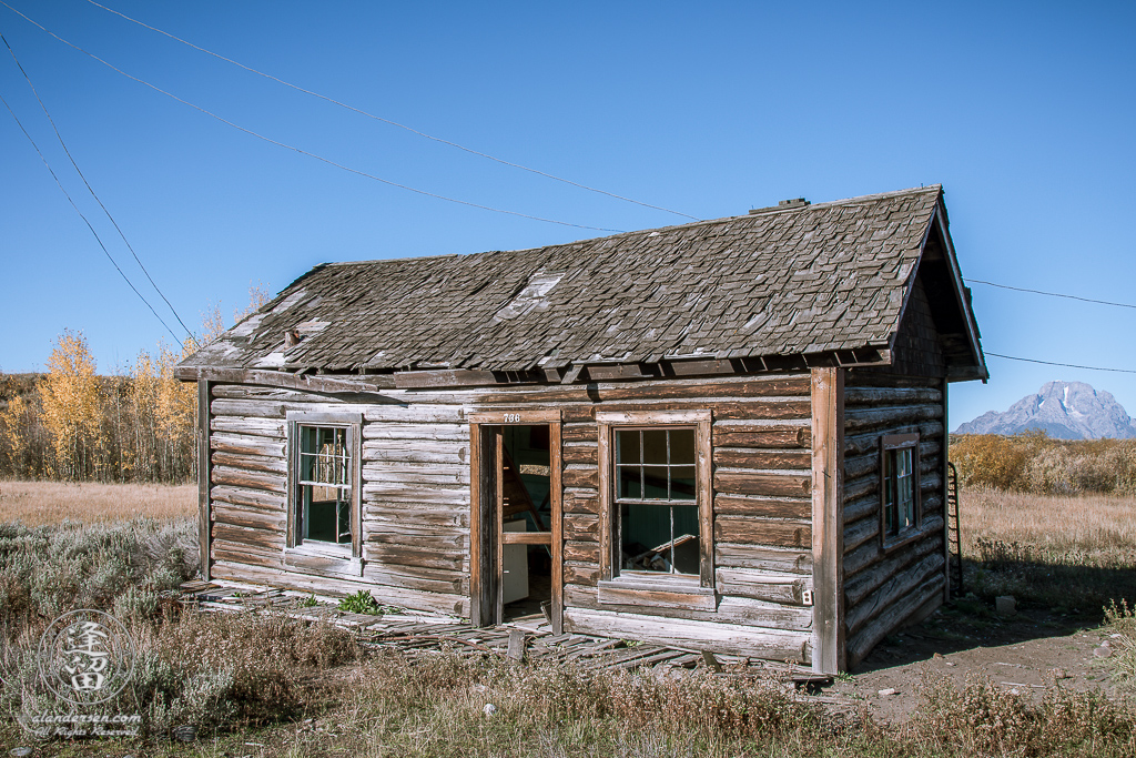 Neglected remains of cabin 736 at old Elk Ranch in Wyoming's Grand Teton National Park.