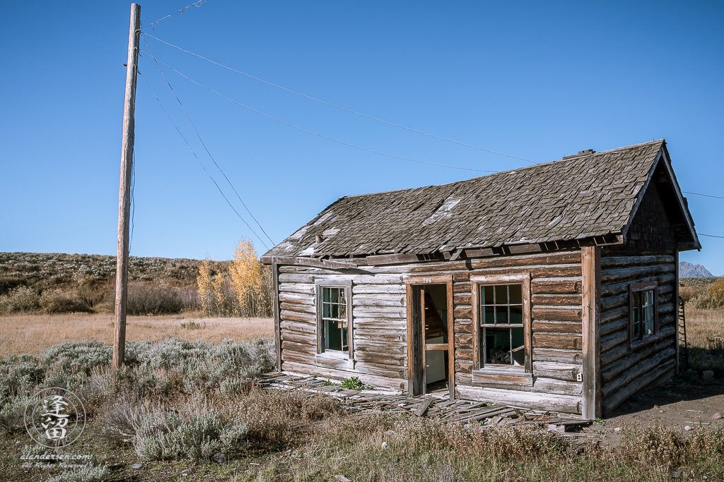 The neglected remains of cabin 736 at the old Elk Ranch in Wyoming's Grand Teton National Park.