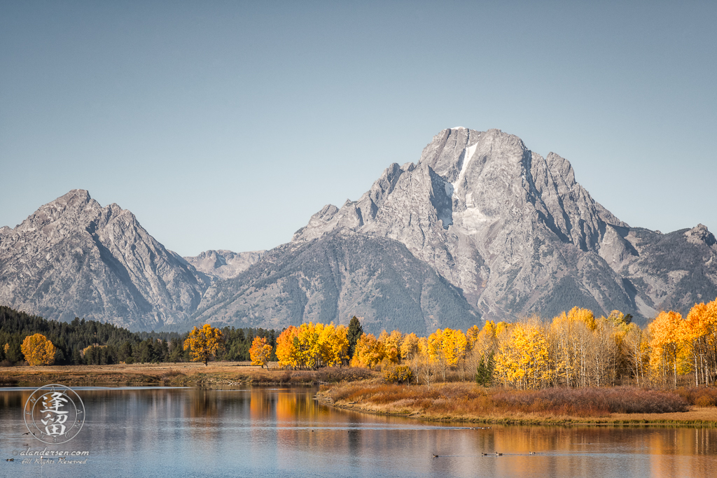 Iconic view of Oxbow Bend on Snake River in Grand Teton National Park during Autumn.