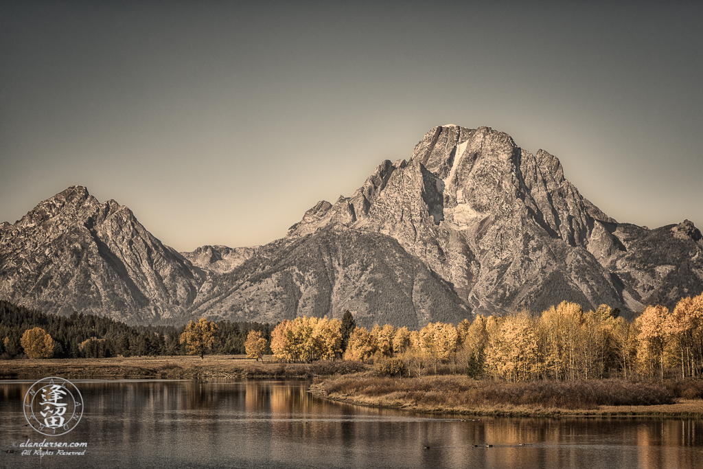 Toned iconic view of Oxbow Bend on Snake River in Grand Teton National Park during Autumn.