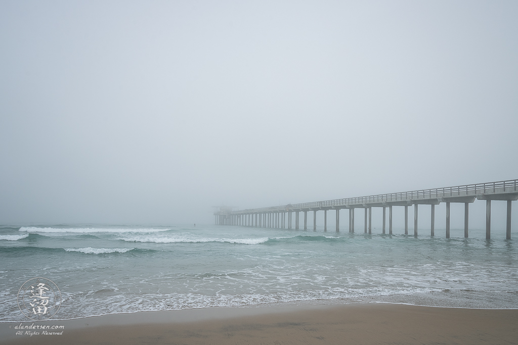 A foggy morning at the Scripps Institution of Oceanography Pier in La Jolla, California.