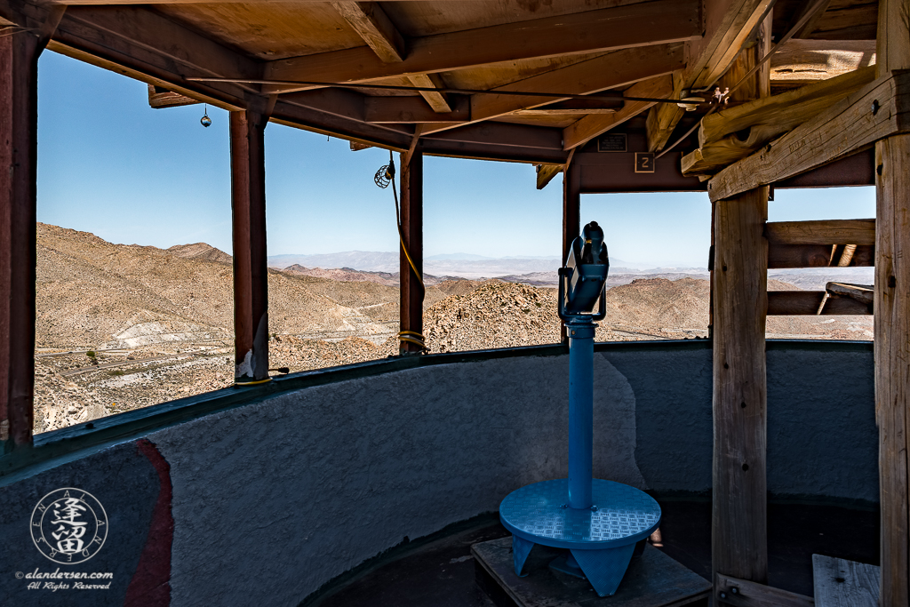 The Desert View Tower in the In-Ko-Pah Mountains of Jacumba, California, provides scenic panoramic views of the surrounding desert.
