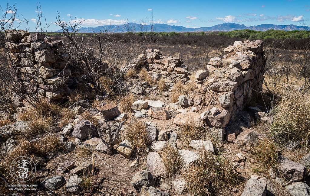 Stone building ruin at historic Millville site along the San Pedro River in Southeastern Arizona.